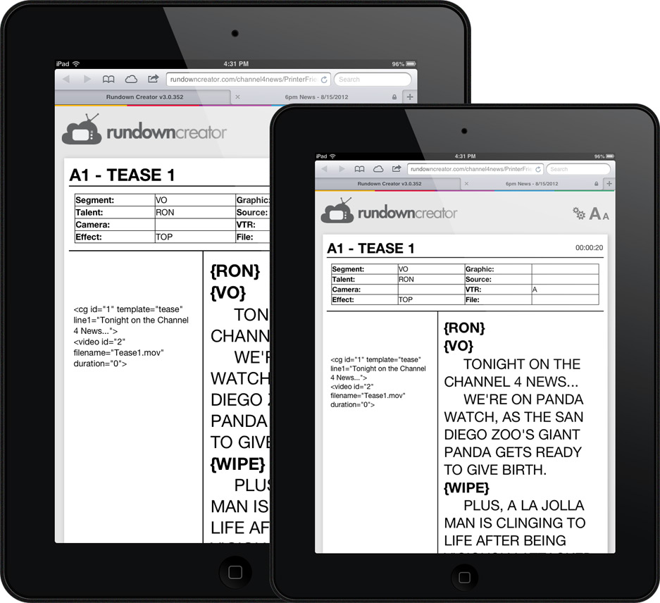 The Rundown Creator Tablet Script Viewer on the iPad and iPad Mini